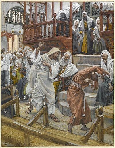 Jesus utdriver en uren ånd av en mann i synagogen. Maleri av J. Tissot.