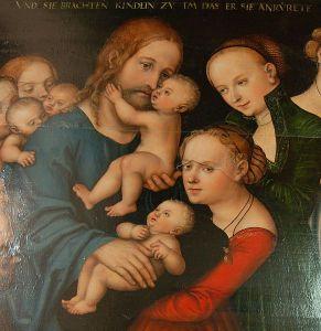 """""""La de små barn komme til meg"""" (detalj) - henger i Larvik kirke."""
