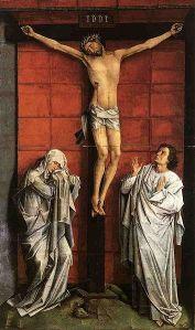 Kristus på korset med Maria og Johannes. Maleri av Roger van der Weyden (Wikimedia Commons)