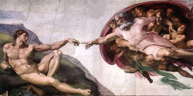 Skapelsen av Adam, maleri av Michelangelo Buonarroti, ca 1511.
