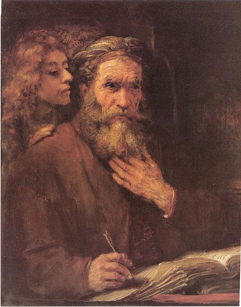 Evangelisten Matteus og engel, maleri av Rembrandt.