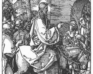Kristi inntog i Jerusalem,  tresnitt av Albrecht Dürer, 1511. Fra Wikiart.